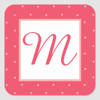 Girly Pink and Peach Polka Dot Monogram Stickers