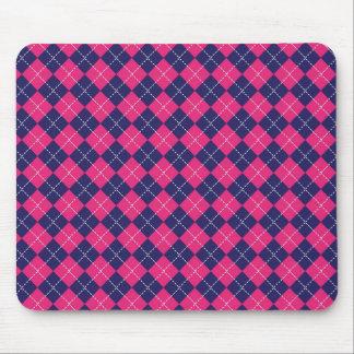 Girly Pink and Purple Argyle Diamond Pattern Mouse Pad