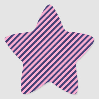 Girly Pink and Purple Diagonal Striped Pattern Star Stickers