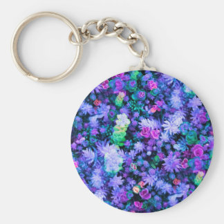 Girly Pink and Purple Floral Succulents Basic Round Button Key Ring