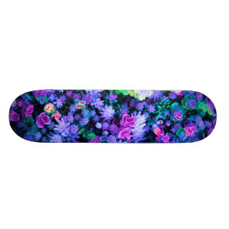 Girly Pink and Purple Floral Succulents Skateboard Deck