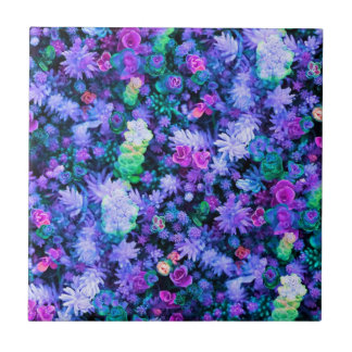 Girly Pink and Purple Floral Succulents Ceramic Tiles
