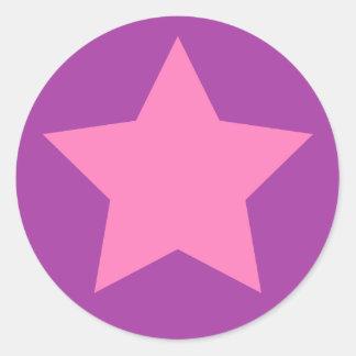 Girly pink and purple star classic round sticker