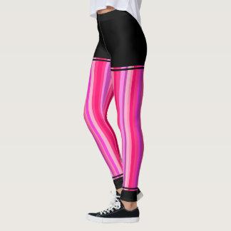 Girly Pink and Purple Stripes + Black Regions Leggings