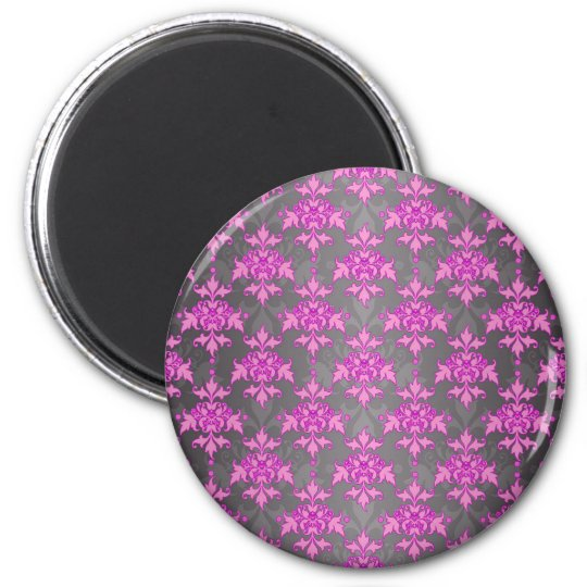 Girly Pink and Silver Grey Damask Magnet