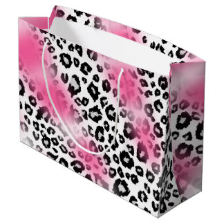 Girly Pink and Snow Leopard Mesh Large Gift Bag