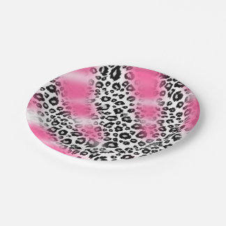 Girly Pink and Snow Leopard Mesh Paper Plate