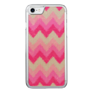 Girly Pink and White Bohemian Chevron Pattern Carved iPhone 8/7 Case
