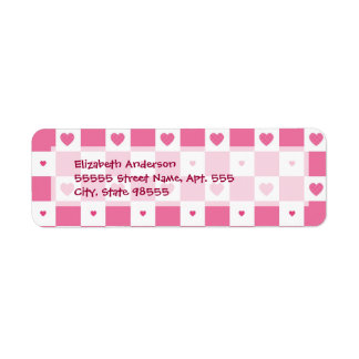 Girly Pink and White Checkerboard Hearts