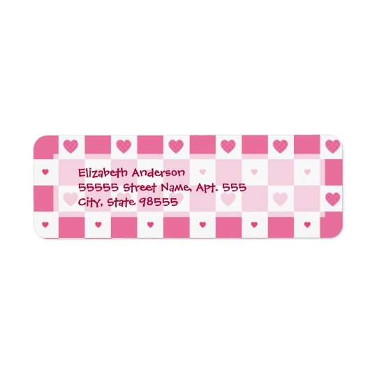 Girly Pink and White Chequerboard Hearts Return Address Label