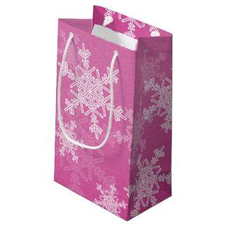 Girly pink and white Christmas snowflakes Small Gift Bag