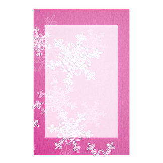 Girly pink and white Christmas snowflakes Stationery