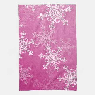 Girly pink and white Christmas snowflakes Tea Towel