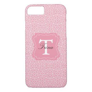Girly Pink and White Greek Key Monogram iPhone 7 Case