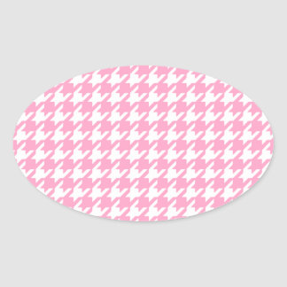 Girly Pink and White Houndstooth Pattern Oval Sticker