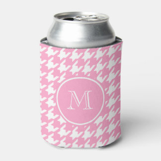 Girly Pink and White Houndstooth Your Monogram Can Cooler