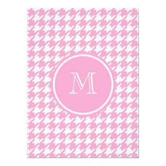 "Girly Pink and White Houndstooth Your Monogram 6.5"" X 8.75"" Invitation Card"
