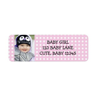 Girly Pink and White Polka Dots Address Label