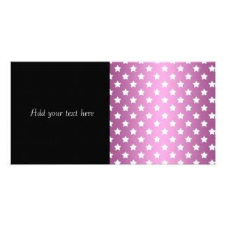 Girly Pink and White Stars Pattern Custom Photo Card
