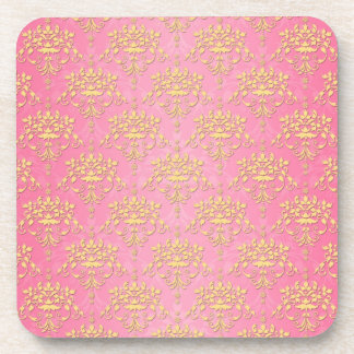 Girly Pink and Yellow Damask Drink Coasters