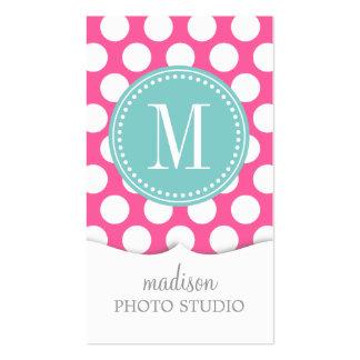 Girly Pink & Aqua Big Polka Dots Monogrammed Business Card Template