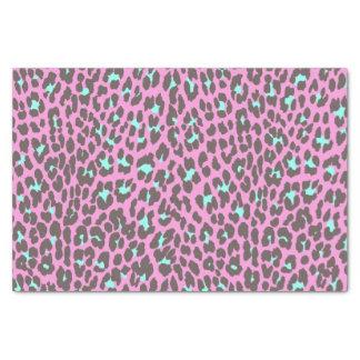 Girly Pink Aqua Black Leopard Animal Print Pattern Tissue Paper