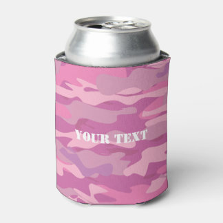 Girly pink army camo camouflage color can cooler