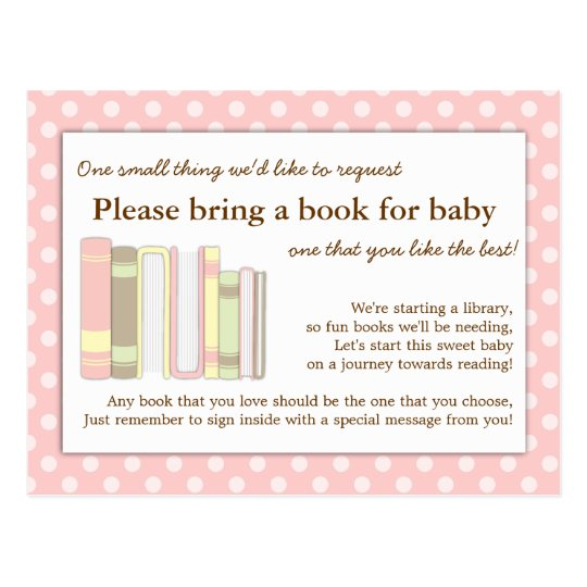 Girly Pink Baby Shower Book Insert Request Card