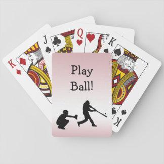 Girly Pink Baseball Play Ball Playing Cards