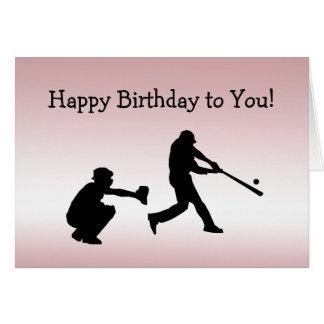 Girly Pink Baseball Play Ball Sports Birthday Card