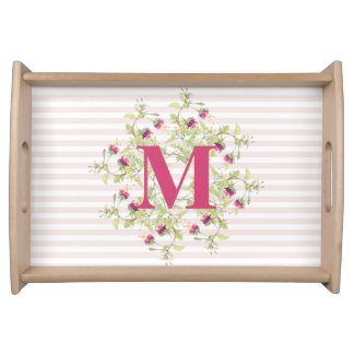 Girly Pink Beautiful Floral Monogram Serving Tray