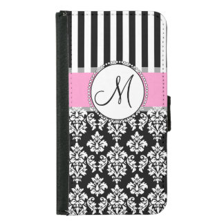 Girly, Pink, Black Damask Your Monogram Initial Samsung Galaxy S5 Wallet Case
