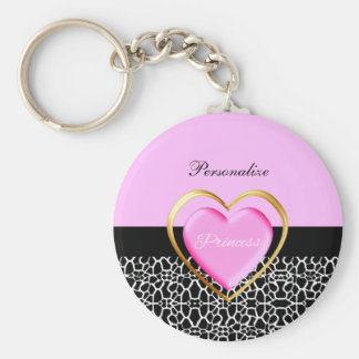 Girly Pink Black Princess Giraffe Print and Name Basic Round Button Key Ring