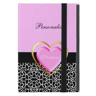 Girly Pink Black Princess Giraffe Print and Name Cover For iPad Mini
