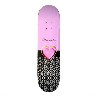 Girly Pink Black Princess Giraffe Print and Name 19.7 Cm Skateboard Deck