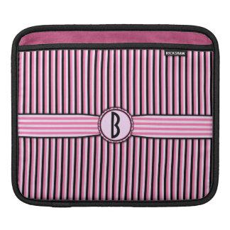 Girly Pink Black Retro Striped Monogram Pattern Sleeve For iPads