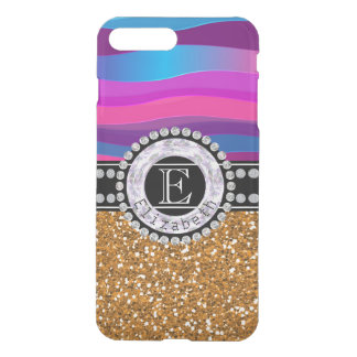 Girly Pink Blue, Gold Glitter, Diamonds, Monogram iPhone 8 Plus/7 Plus Case