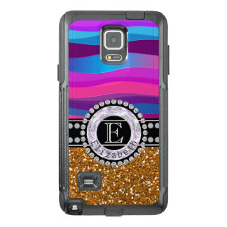 Girly Pink Blue, Gold Glitter, Diamonds, Monogram OtterBox Samsung Note 4 Case