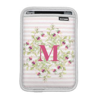 Girly Pink Boho Floral Rose Monogram iPad Mini Sleeve