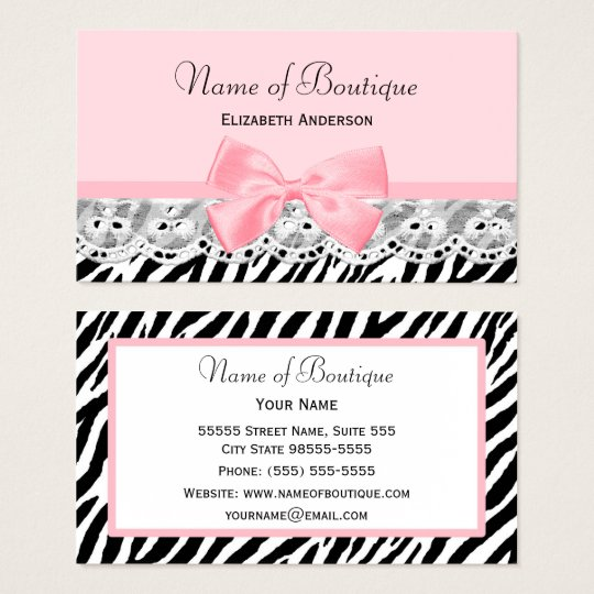 African print business cards business card printing zazzle uk girly pink bows and lace zebra print boutique reheart Choice Image