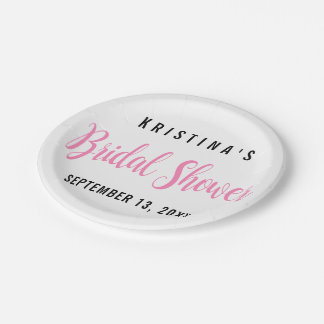 Girly Pink Bridal Shower Typography Wedding Paper Plate