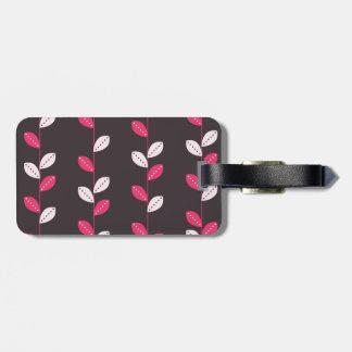Girly Pink & Brown Leaf Pattern Luggage Tag