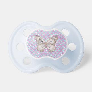 Girly Pink Butterfly Blue Hearts Glitter Pattern Pacifier