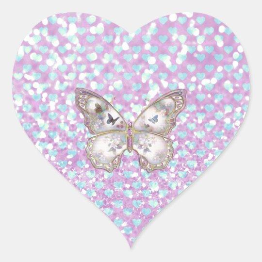 Girly Pink Butterfly Blue Hearts Glitter Pattern Heart