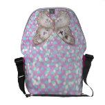 Girly Pink Butterfly Blue Hearts Glitter Pattern Messenger Bag