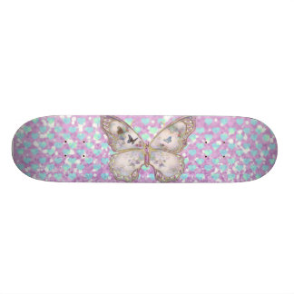 Girly Pink Butterfly Blue Hearts Glitter Pattern Skate Decks