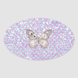Girly Pink Butterfly Blue Hearts Glitter Pattern Oval Sticker