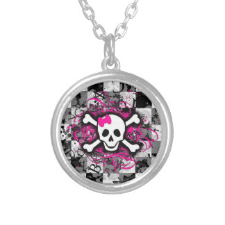 Girly Pink Checkerboard Round Silver Necklace
