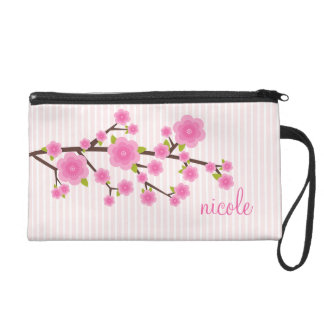 Girly Pink Cherry Blossom Personalized Wristlet Clutches