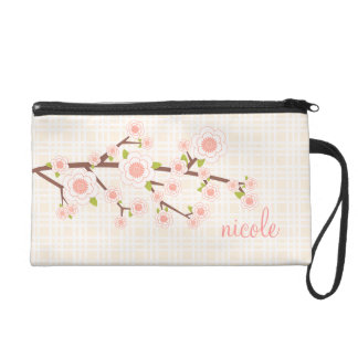 Girly Pink Cherry Blossom Personalized Wristlets